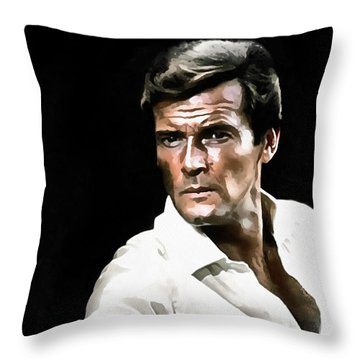 Roger Moore Throw Pillow by Sergey Lukashin