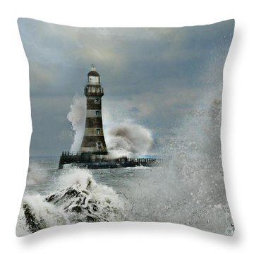 Roker Pier And Lighthouse Throw Pillow