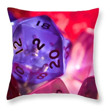 Role-playing D20 Dice Throw Pillow by Marc Garrido