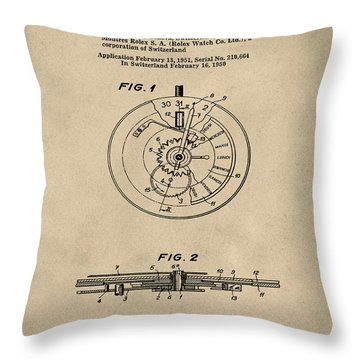 Rolex Watch Patent 1999 In Old Style Throw Pillow