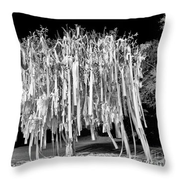 Rolled Tree Blk N White Throw Pillow