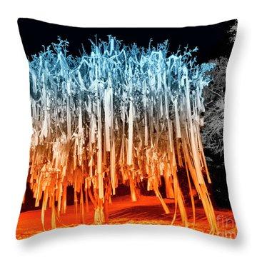 Rolled Tree Orangenblue Throw Pillow