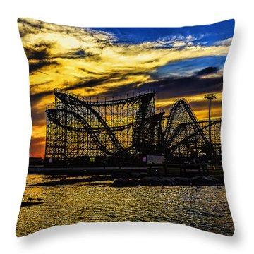 Roller Coaster Sunset Throw Pillow