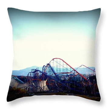 Roller Coasters At Twilight Throw Pillow