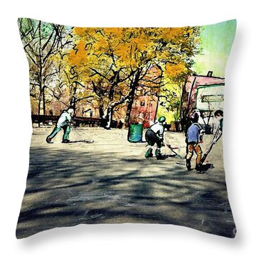 Roller Hockey In Bennett Park Throw Pillow by Sarah Loft