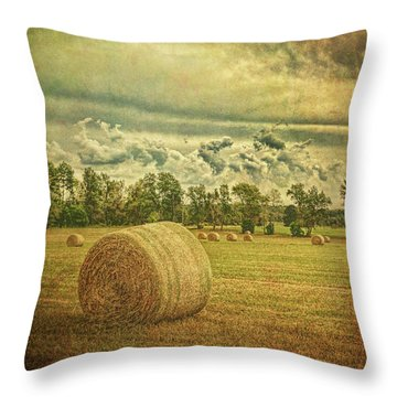 Throw Pillow featuring the photograph Rollin' Hay by Lewis Mann