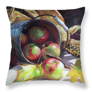 Rolling Apples Throw Pillow by Donna Munsch