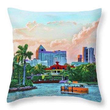 Rolling Down The New River Throw Pillow