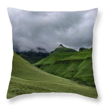 Rolling Green Drakensberg Mountains Throw Pillow