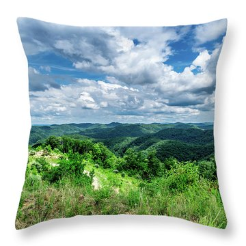 Rolling Hills And Puffy Clouds Throw Pillow