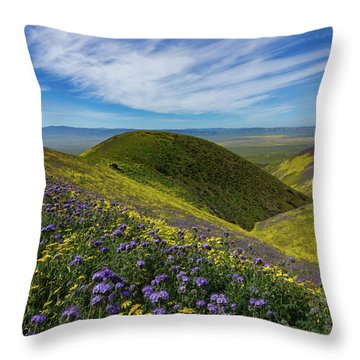 Rolling Hills Of Wildflowers - Carrizo Plain National Monument Throw Pillow