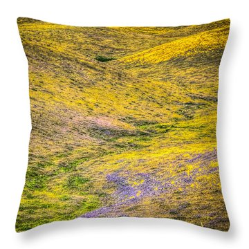 Rolling Hills Painted With Wild Flowers Throw Pillow