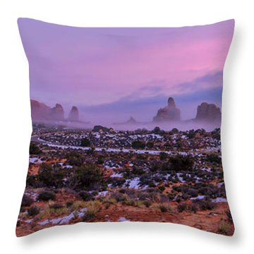 Rolling Mist Through Arches Throw Pillow