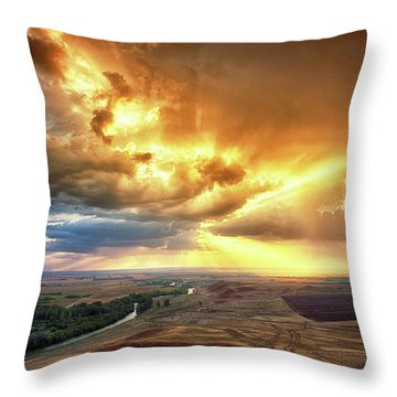 Rolling Rain Of Summer Sunset Throw Pillow