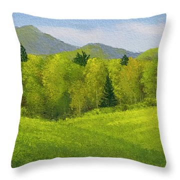 Throw Pillow featuring the painting Rolling Spring Pastures  by Frank Wilson