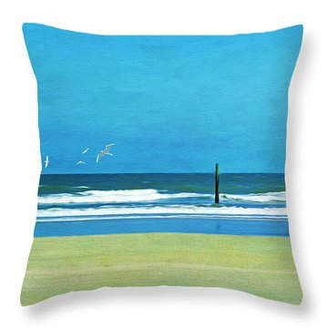 Rolling Waves At Cumberland Island Throw Pillow