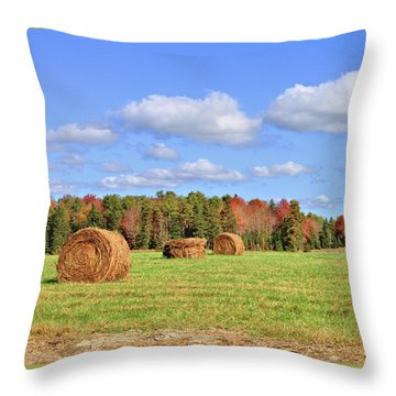 Rolls Of Hay On A Beautiful Day Throw Pillow