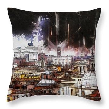 Throw Pillow featuring the painting Roma Aeterna by Kai Saarto