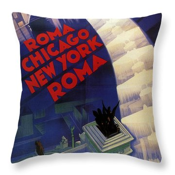 Roma, Chicago, New York - Vintage Illustrated Poster Throw Pillow
