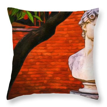 Roman Bust, Loyola University Chicago Throw Pillow by Vincent Monozlay