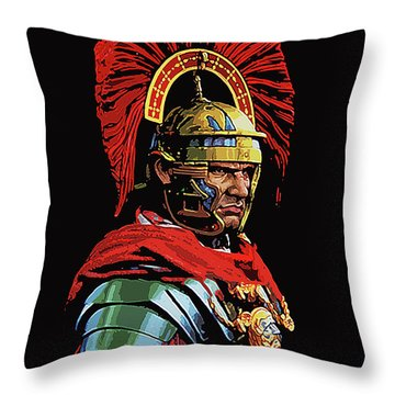 Roman Centurion Portrait Throw Pillow