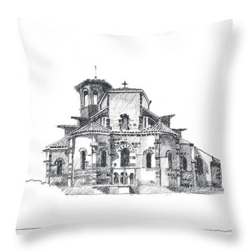 Roman Church At Chamalieres Throw Pillow