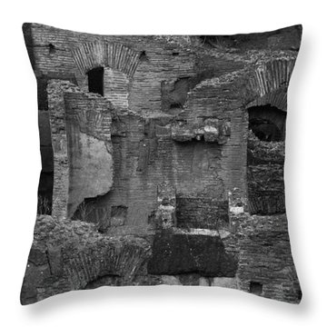 Roman Colosseum Bw Throw Pillow by Silvia Bruno