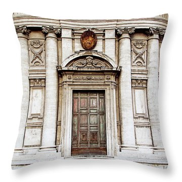 Throw Pillow featuring the photograph Roman Doors - Door Photography - Rome, Italy by Melanie Alexandra Price