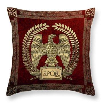 Roman Empire - Gold Imperial Eagle Over Red Velvet Throw Pillow