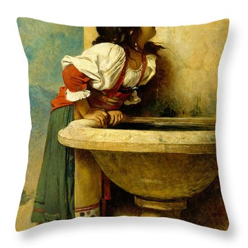 Throw Pillow featuring the painting Roman Girl At A Fountain by Leon Bonnat