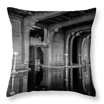 Roman Pool, Black And White Throw Pillow
