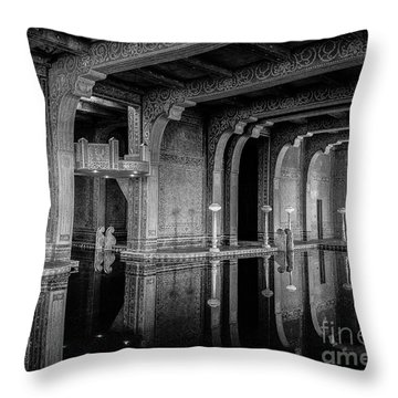 Roman Pool, Black And White Throw Pillow
