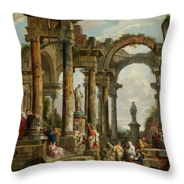 Roman Ruin Architecture With Predigendem St. Paul Throw Pillow