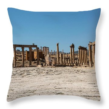 Throw Pillow featuring the photograph Roman Ruins At Ajloun by Mae Wertz