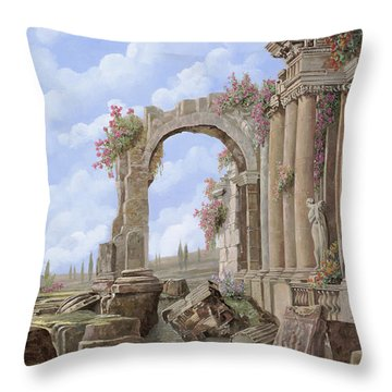 Roman Ruins Throw Pillow by Guido Borelli