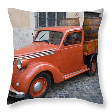 Roman Street Parking And Shopping Throw Pillow
