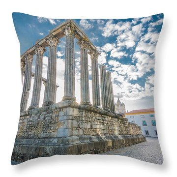Roman Temple At Evora Throw Pillow