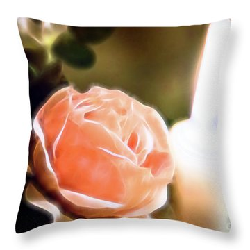 Throw Pillow featuring the digital art Romance In A Peach Rose by Linda Phelps