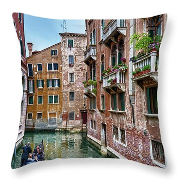 Gondola Ride Surrounded By Vintage Buildings In Venice, Italy Throw Pillow
