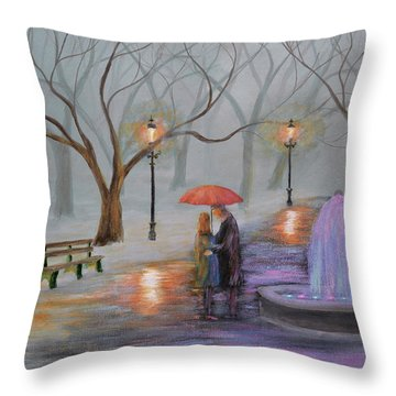 Romance In The Park Throw Pillow