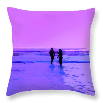 Romance On The Beach Throw Pillow