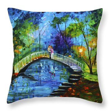 Romance On The Bridge Throw Pillow