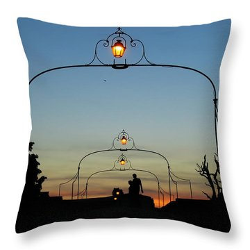 Romance On The Old Lantern Bridge Throw Pillow by Menega Sabidussi