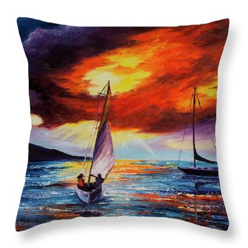 Throw Pillow featuring the painting Romancing The Sail by Darice Machel McGuire