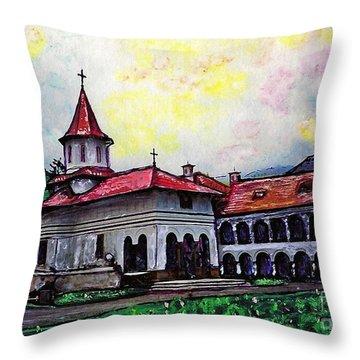 Romanian Monastery Throw Pillow by Sarah Loft