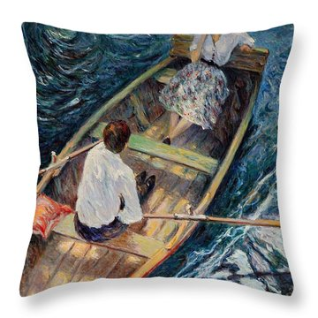 Dordogne , Beynac-et-cazenac , France ,romantic Boat Trip Throw Pillow by Pierre Van Dijk