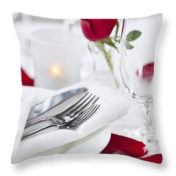Romantic Dinner Setting With Rose Petals Throw Pillow