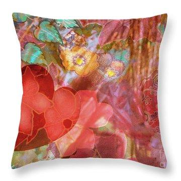 romantic floral fantasy - Veiled Heart Throw Pillow