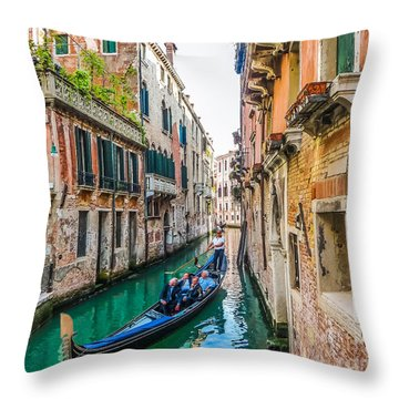 Romantic Gondola Scene On Canal In Venice Throw Pillow