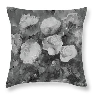 Throw Pillow featuring the painting Romantic Large Roses  by Robin Maria Pedrero